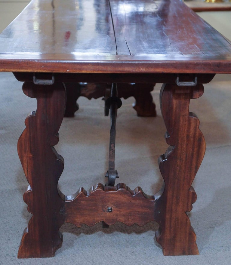 Antique Spanish Mahogany Trestle Table For Sale 2