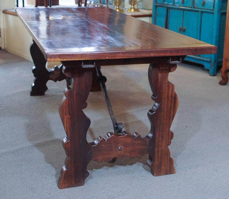Antique Spanish Mahogany Trestle Table For Sale 3