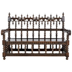 Antique Spanish Moorish Baroque Walnut Carved Barley-Twist Bench, circa 1850