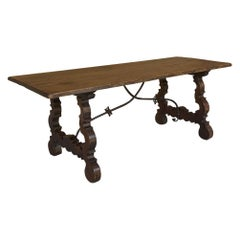 Antique Spanish Oak Dining Table with Wrought Iron