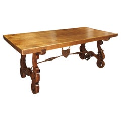 Antique Spanish Oak Table with Wrought Iron Stretcher