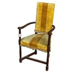 Antique Spanish Oak & Velvet Stripe Armchair with Fringe Detail