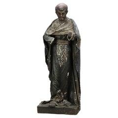 Antique Spanish or Italian Wood & Paper Mache Santos Figure, St. Anthony, 19th C