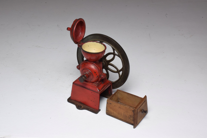 Antique Spanish Red Coffee Grinder