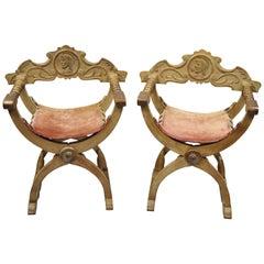 Antique Spanish Renaissance Curule Savonarola Throne Chairs Armchairs, a Pair