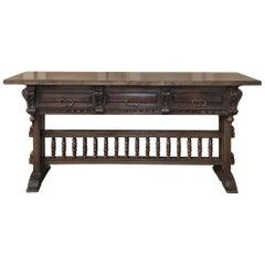 Antique Spanish Renaissance Walnut Hall Table, Console
