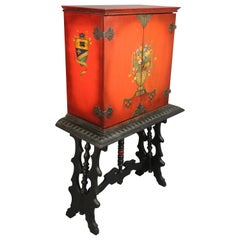 Antique Spanish Revival Hand Painted Vargueno Desk with Galleon Motif
