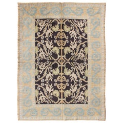 Antique Spanish Rug with All-Over Botanicals in Black, Light Blue, Light Green