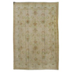 Antique Spanish Rug with Floral Yellow Green, Light Brown, Acid Green and Ivory