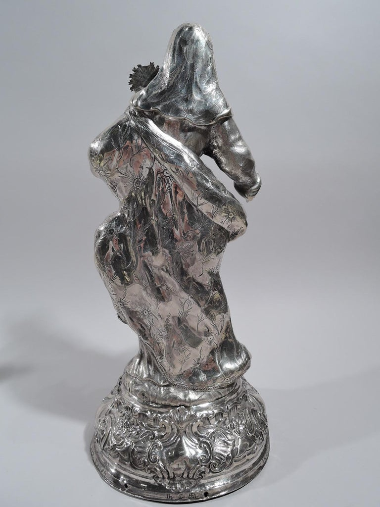 Rococo Antique Spanish Silver Figure of Virgin Mary and Child, 18th Century For Sale