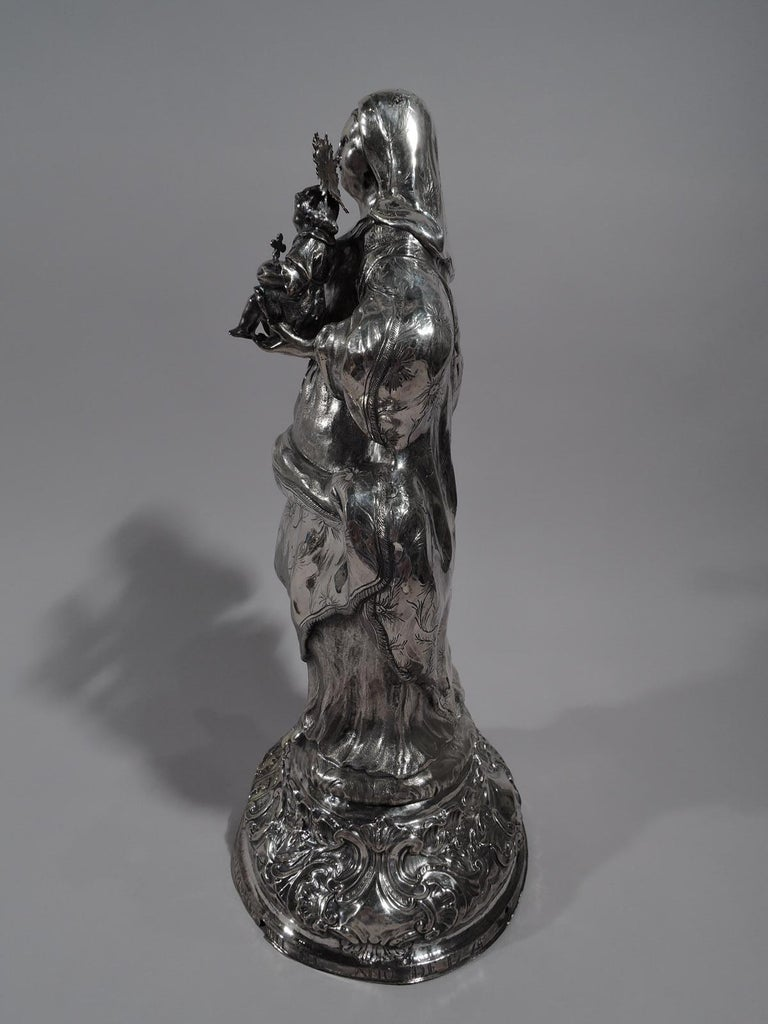 Antique Spanish Silver Figure of Virgin Mary and Child, 18th Century In Good Condition For Sale In New York, NY