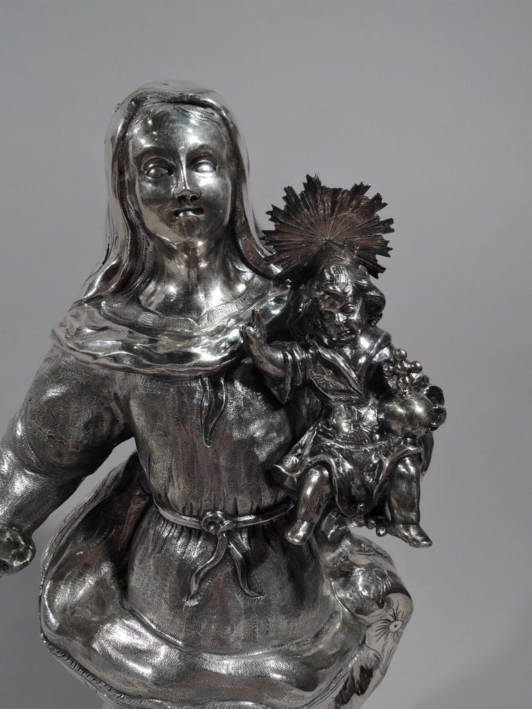 18th Century and Earlier Antique Spanish Silver Figure of Virgin Mary and Child, 18th Century For Sale
