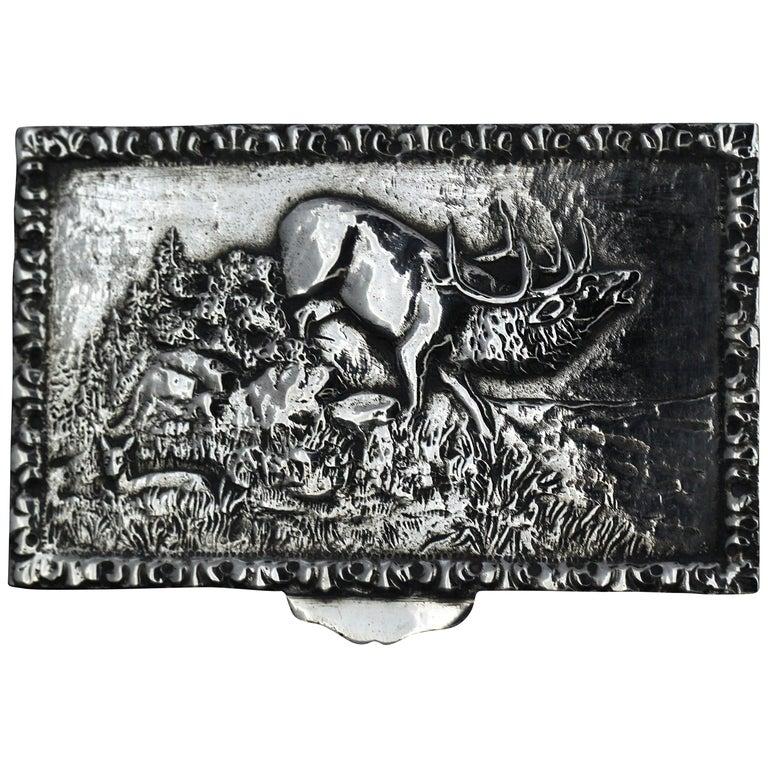 Antique Spanish Silver Snuff Box, 19th Century For Sale