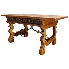 Antique Spanish Solid Walnut Baroque Lyre, Leg Table or Desk