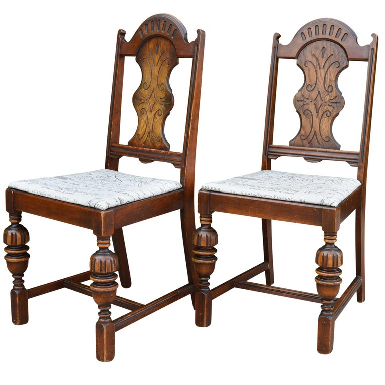 Antique Spanish Style Chairs with Taupe and Brown Upholstered Seat Pair In  Distressed Condition For Sale - Antique Spanish Style Chairs With Taupe And Brown Upholstered Seat