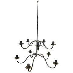Antique Spanish Style Hand Forged Iron Candelabra