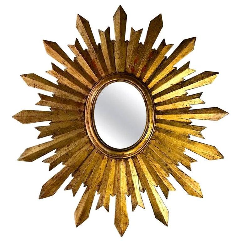 Antique Spanish Sunburst Mirror For Sale