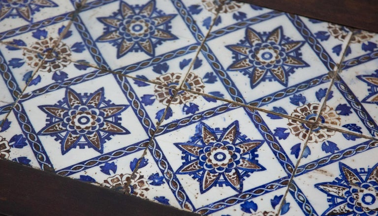 Antique Spanish Tile on Chinese Style Table In Excellent Condition For Sale In New York, NY
