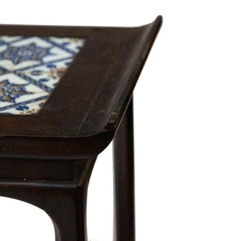20th Century Antique Spanish Tile on Chinese Style Table For Sale