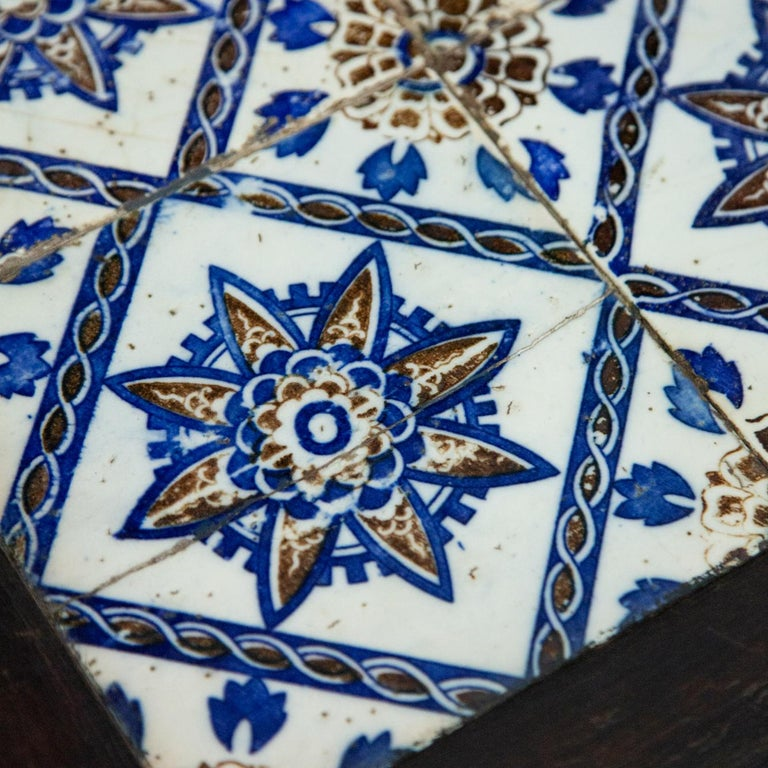 Ceramic Antique Spanish Tile on Chinese Style Table For Sale