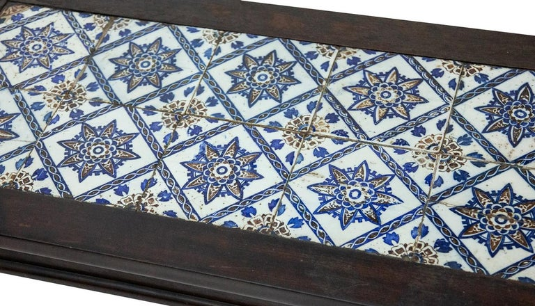 Antique Spanish Tile on Chinese Style Table For Sale 1
