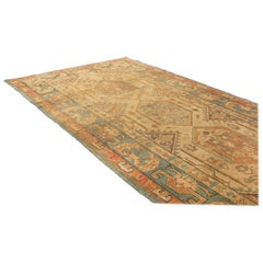 Antique Spanish Traditional Beige and Blue Hemp-Wool Rug