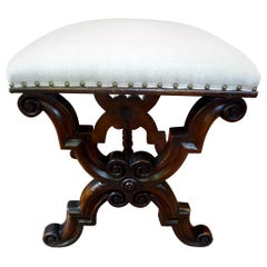 Antique Spanish Walnut Bench or Ottoman
