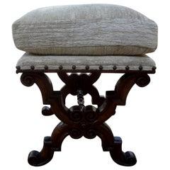 Antique Spanish Walnut Bench or Ottoman