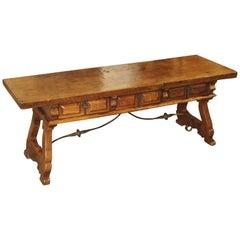Antique Spanish Walnut Wood Coffee Table