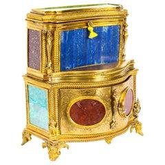 19th Century Specimen Precious Hard Stone and Ormolu Mounted Jewelry Cabinet