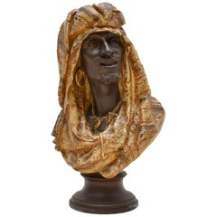 Antique Spelter Bust of a Moorish Man