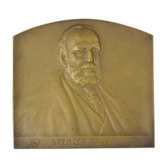 Antique Spencer Trask Bronze Plaque Paperweight by Victor David Brenner