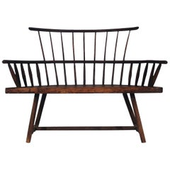 Antique Spindle Back Windsor Bench in Pine with a Modern Form