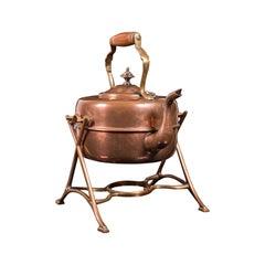Antique Spirit Kettle, English, Copper, Brass, Teakettle, Stand, Victorian, 1900