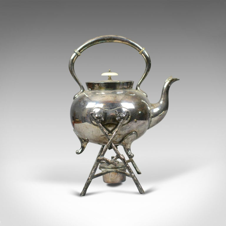 Edwardian Antique Spirit Kettle on Stand, Decorative, Silver Plated, Tea Pot For Sale