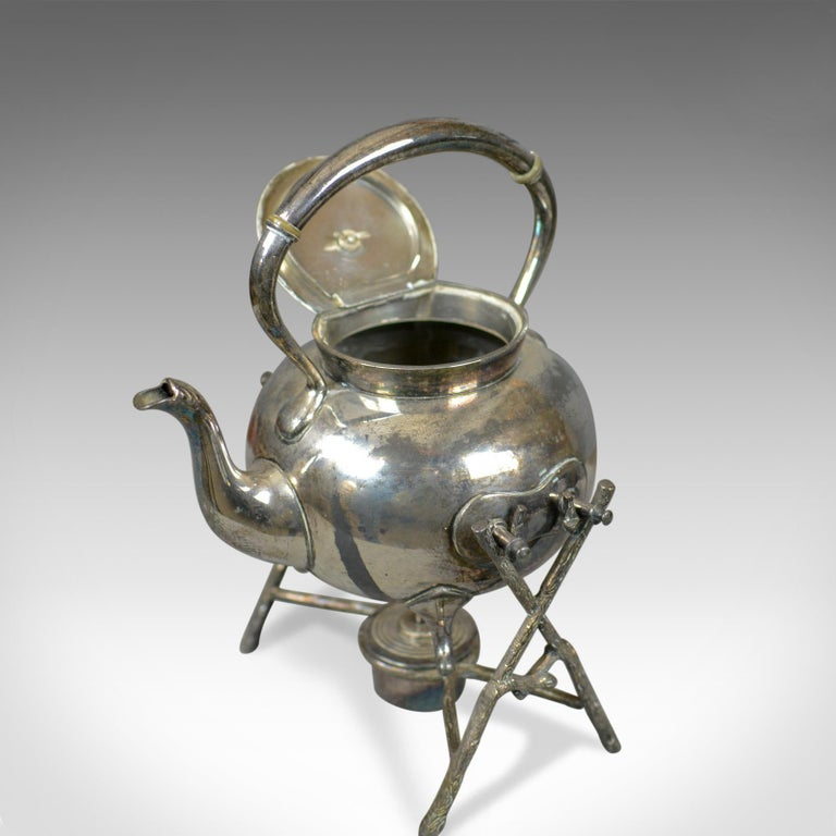 European Antique Spirit Kettle on Stand, Decorative, Silver Plated, Tea Pot For Sale