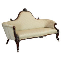 Antique Spoon Back Sofa, English, Walnut, 2-Seat Settee, Early Victorian, 1840