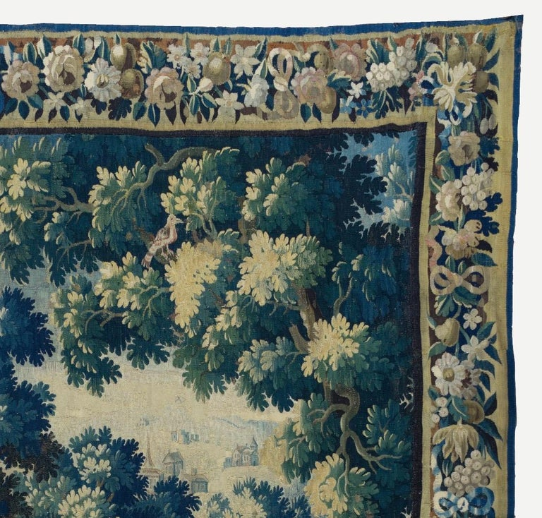 Baroque Antique Square 17th Century Flemish Verdure Landscape Tapestry with Birds  For Sale