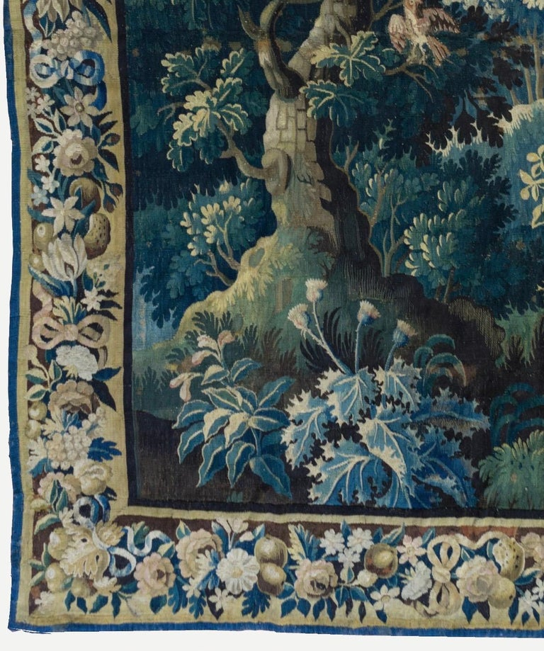 Dutch Antique Square 17th Century Flemish Verdure Landscape Tapestry with Birds  For Sale