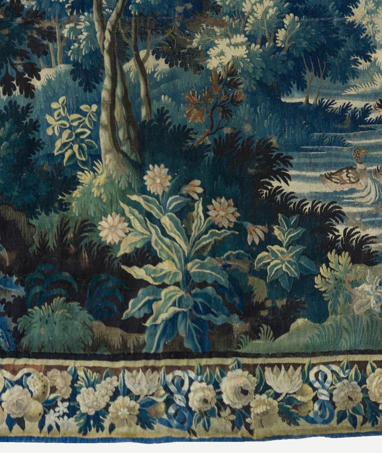 Hand-Woven Antique Square 17th Century Flemish Verdure Landscape Tapestry with Birds  For Sale