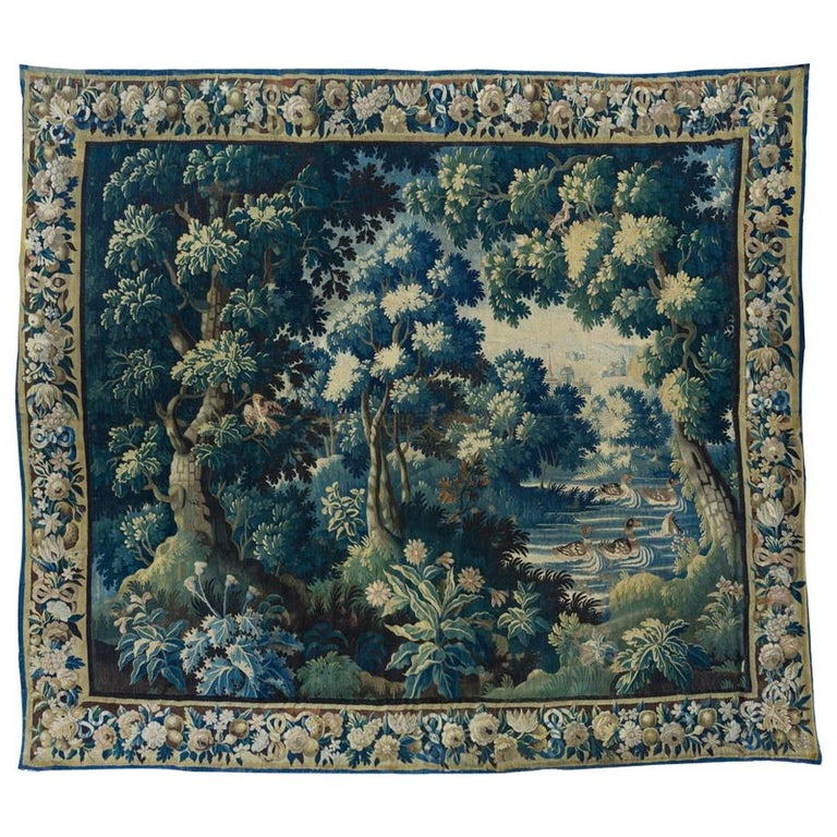 Antique Square 17th Century Flemish Verdure Landscape Tapestry with Birds  For Sale