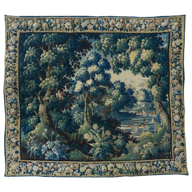 Antique Square 17th Century Flemish Verdure Landscape Tapestry with Birds For Sale