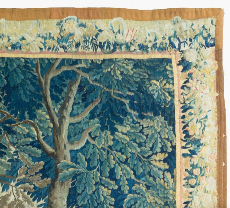 Baroque Antique 18th Square Century Flemish Verdure Green Landscape Tapestry with Birds For Sale