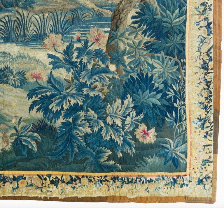 Dutch Antique 18th Square Century Flemish Verdure Green Landscape Tapestry with Birds For Sale