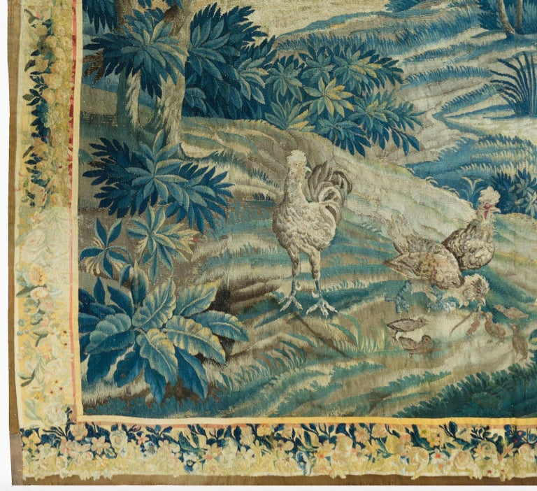 Hand-Woven Antique 18th Square Century Flemish Verdure Green Landscape Tapestry with Birds For Sale