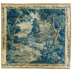 Square 18th Century Flemish Verdure Landscape Tapestry Roosters and Birds