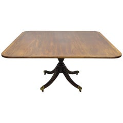 Antique Square Banded Mahogany Duncan Phyfe Dining Conference Room Table