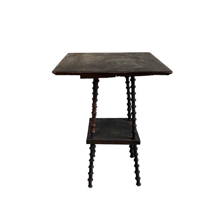 Folk Art Antique Square Black Wood Tramp Art Spool or Spindle Side Table For Sale
