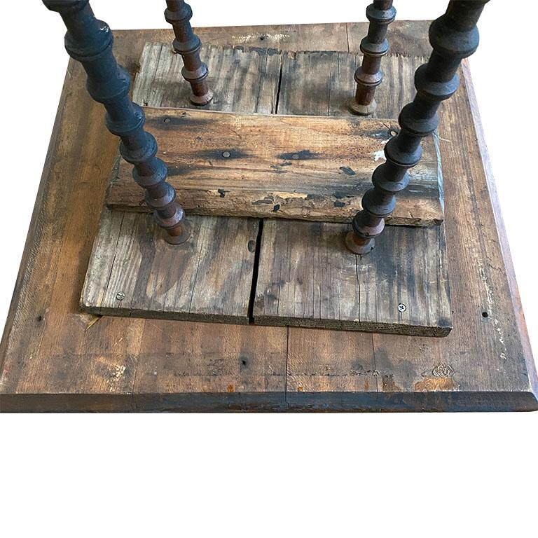 American Antique Square Black Wood Tramp Art Spool or Spindle Side Table For Sale