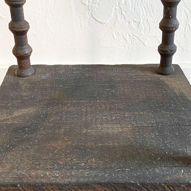 Early 20th Century Antique Square Black Wood Tramp Art Spool or Spindle Side Table For Sale